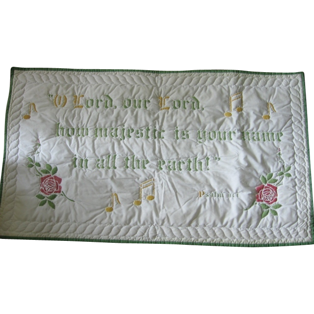 Majestic Christian Hand Quilted Wall Hanging Psalm 8:1