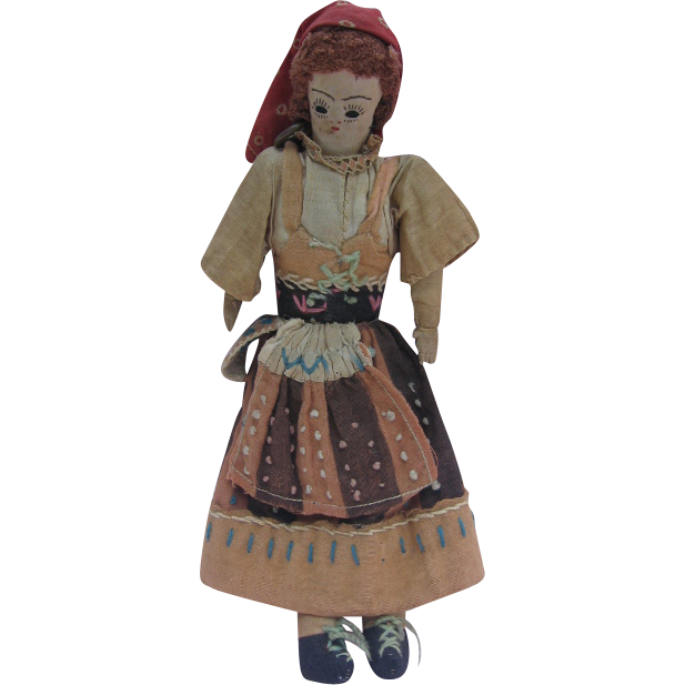 Old Cloth Doll Detailed Ethnic Foreign Country Doll