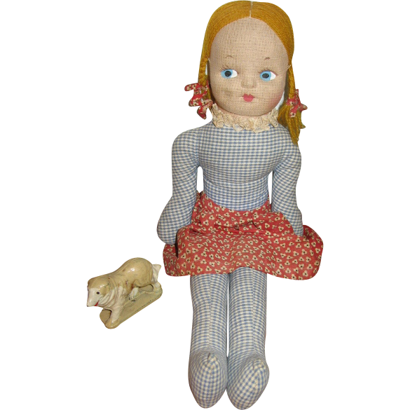 Old Blue Checked Fabric Doll with Painted Mask Face