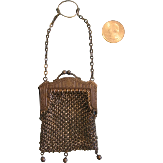 Miniature Finger Purse Metal Mesh Perfect for Doll