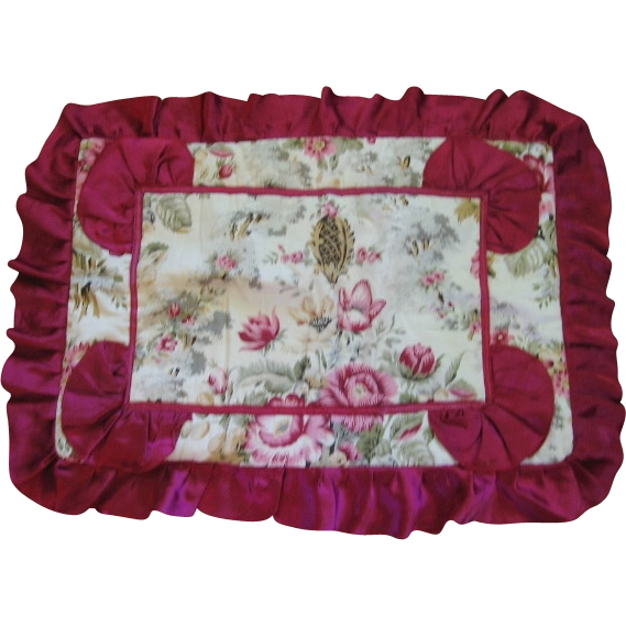 1930s Floral Bench Cover or Pillow Case
