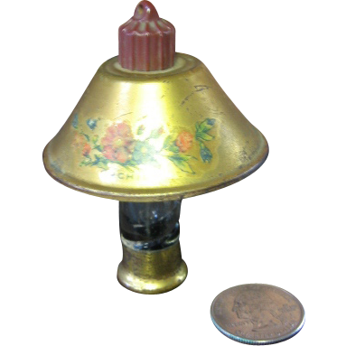 Miniature Lamp Old Perfume Bottle Tin Shade