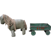 Toy Oilcloth Handmade Horse & Metal Wagon