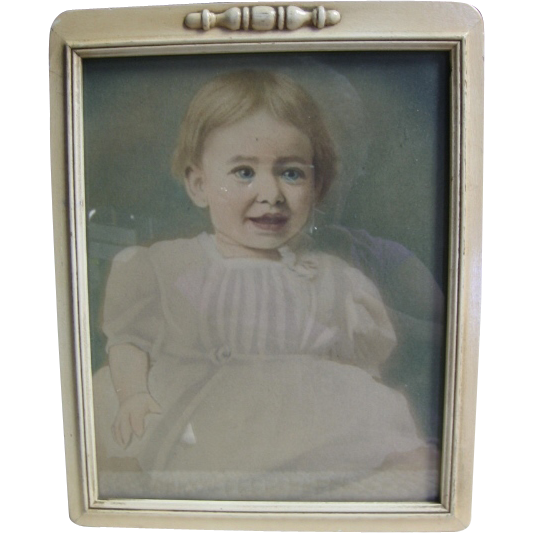 Aquatint Baby Photo with Hand Artistry from Late 1800s