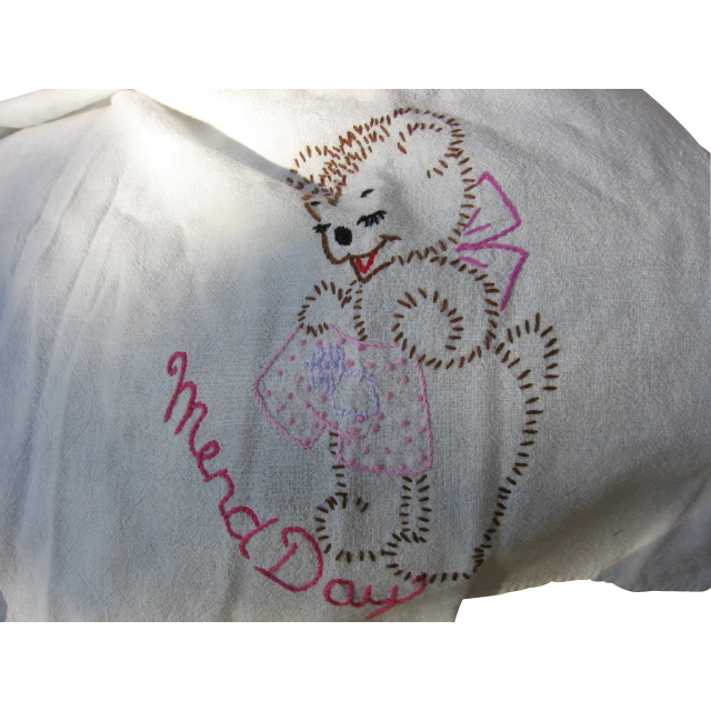 Bear Theme Mend Day Embroidered Towel