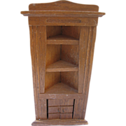 Vintage Wooden Dollhouse Corner Cupboard