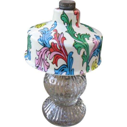 Vintage Perfume Bottle Lamp with Decorated Plastic Shade