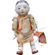 Old Jointed Oriental Bisque Boy Doll