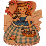 Diecut Girl with Kittens Vintage Card