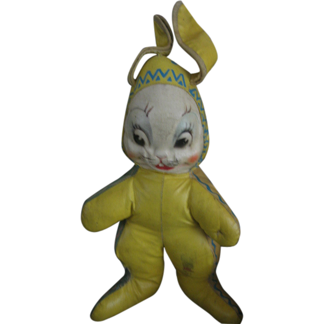 Easter Bunny Vintage Oilcloth Bunny Rabbit Toy