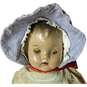 Blue Checked Doll Bonnet