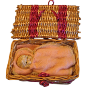 Vintage Miniature Bisque Baby in Basket