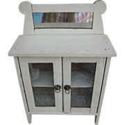 Vintage Toy Doll Hutch Wooden Cupboard with Mirror