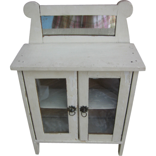 Wooden Doll Cupboard Hutch with Mirror