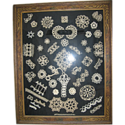 Sampler in Fancy Wooden Frame of Handmade Lace Tatting Unique Wall Art!!