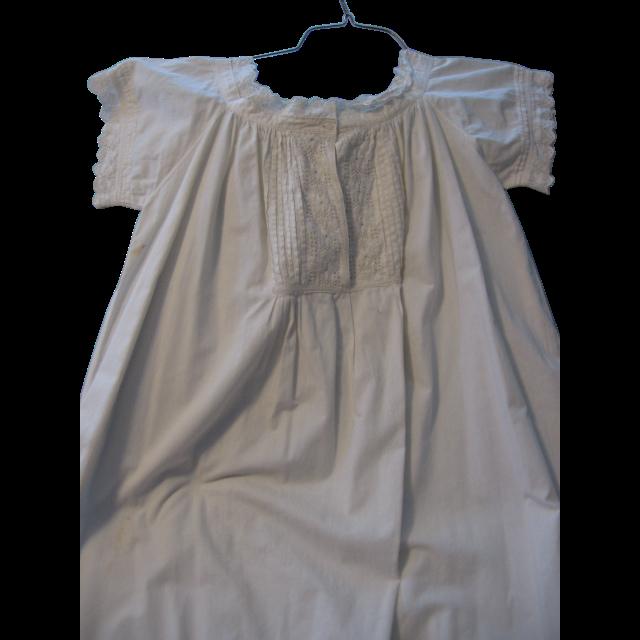 Victorian Era Ladies White on White Night Gown