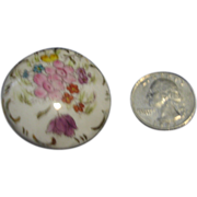 Large Porcelain Satsuma Type Hand Painted Button
