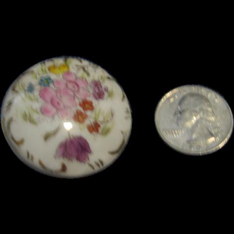 Large Porcelain Satsuma Type Hand Painted Button