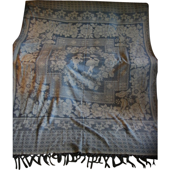 Lovely Vintage Blue and White Damask Type Reversible Bedspread