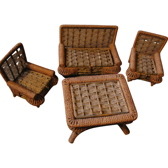 Ornate Antique Doll Furniture with Hidden Compartments Woven Reed 4 Piece Set