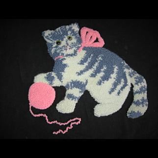 Vintage Kitten Pillow Top Punch Work
