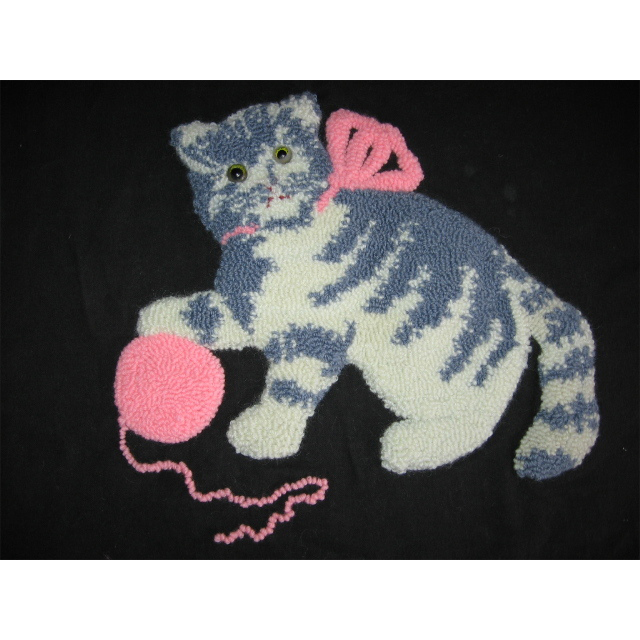 Vintage Kitten Pillow Top Punch Work