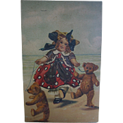 Artist Signed Postcard Girl with 2 Baby Bear Cubs Magnus Greiner
