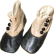 Antique Baby Shoes Two- Toned Hightop Button Shoes
