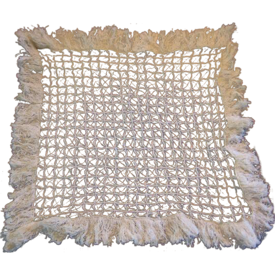 Vintage Fringed String Lace Square Doily for Table