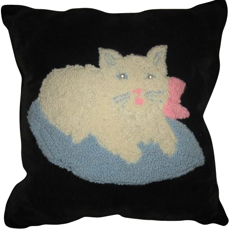 Vintage Stumpwork Punchwork Cat on Pillow