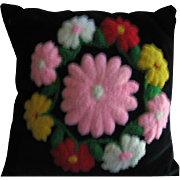 Vintage Stumpwork Pillow Lovely Floral Wreath