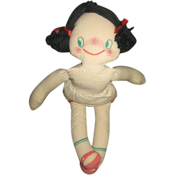 Big Eyed Printed Cloth 1950s Rag Doll Star Gazer