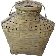 Vintage Woven Basket Bottle Vase Vessel