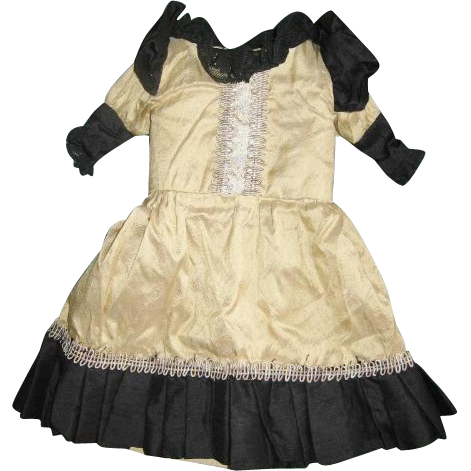 Lovely Silk and Lace Dress Found on Greiner Head Type Doll for China Head or French Fashion Doll