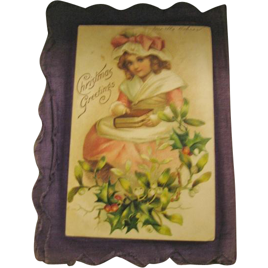 Early 1900s Handmade Postcard Scrapbook on Cloth Keepsake Booklet