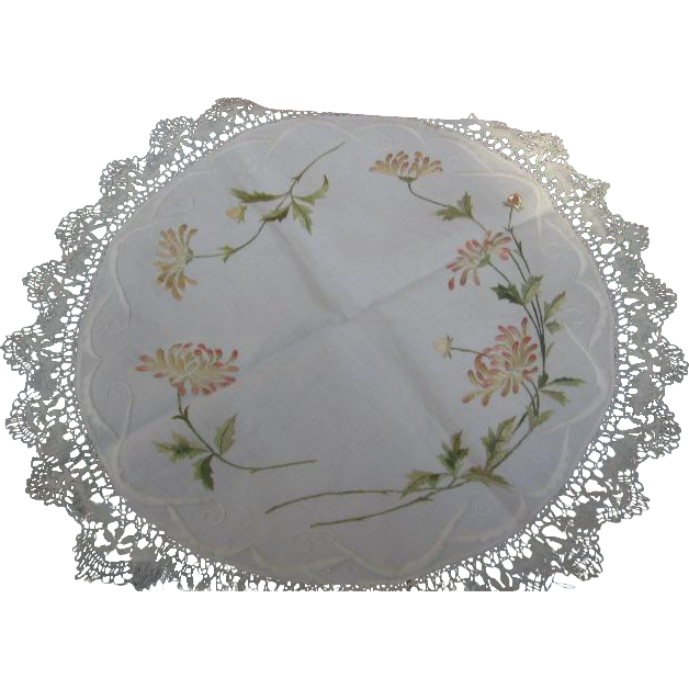 Arts & Crafts Era Tablecloth or Large Doily
