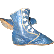 Antique Blue Leather Baby Hightop Button Shoes Boots Awesome!