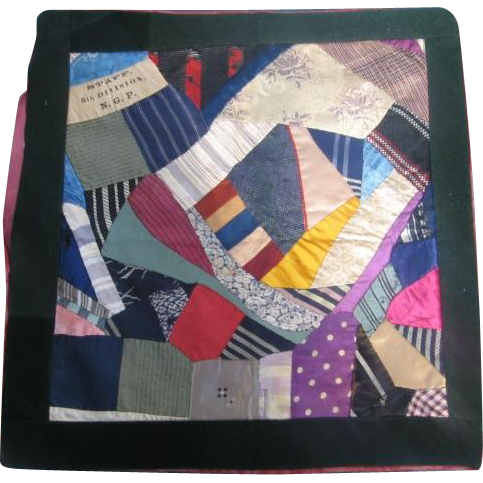 Crazy Quilt Pillow Cover with STAFF 5th Division NGP Strip