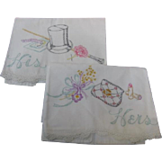 Wonderful Pair Embroidered His and Her Pillowcases Wedding Gift