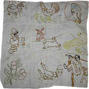 Primitive Embroidered Pillow Top Depression Era
