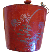 Miniature Painted Paper Mache Pail with Bale Handle