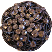 Ornate Filigree and Rhinestone Button with Metal Shank
