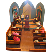 Amazing Diorama Handmade Miniature Church with Furniture and People