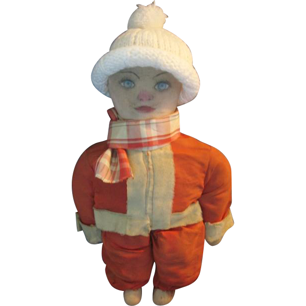 Santa in Training One of A Kind Jolly Fellow! Old Rag Doll with Santa Outfit