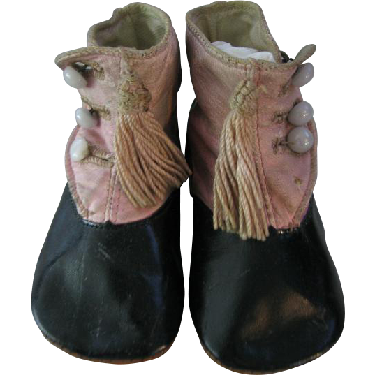 Two Tone Pink & Black Antique Baby Shoes Leather Hightop Button Shoes with Tassels