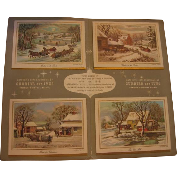 Sample Christmas Card Folder 1963 Currier & Ives Salesman Sample