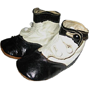 Leather Hightop Button Baby Shoes Black and White High Fashion Style
