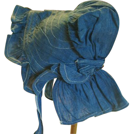 Antique Indigo Blue Prairie Doll Bonnet