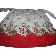 Vintage Christmas Apron with Kittens!