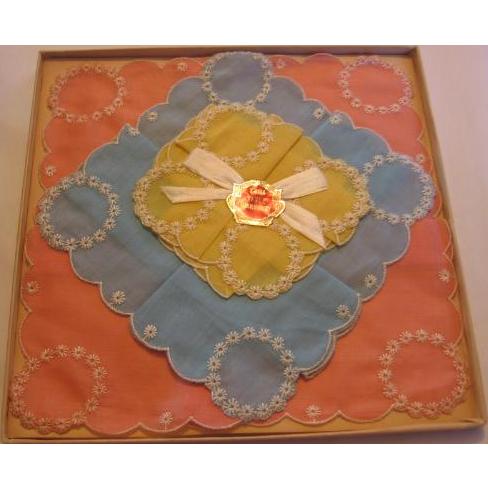 Hankies in Original Dickens Era Box Beautiful Swiss Style Embroidered